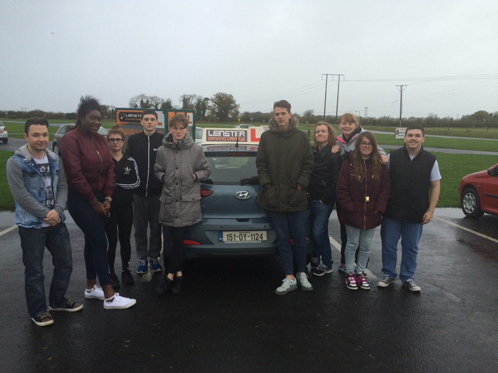6th year leaving certificate applied class completed a 4 hour intense driving course in Leinster driving campus. This involved completing a driver theory test,assessing the ill effects of alcohol and drugs on drivers and it was topped off with  an individual driving lesson around the campus. Bad weather conditions did not dampen our spirits,unanimous great day out with excellent experience gained.
