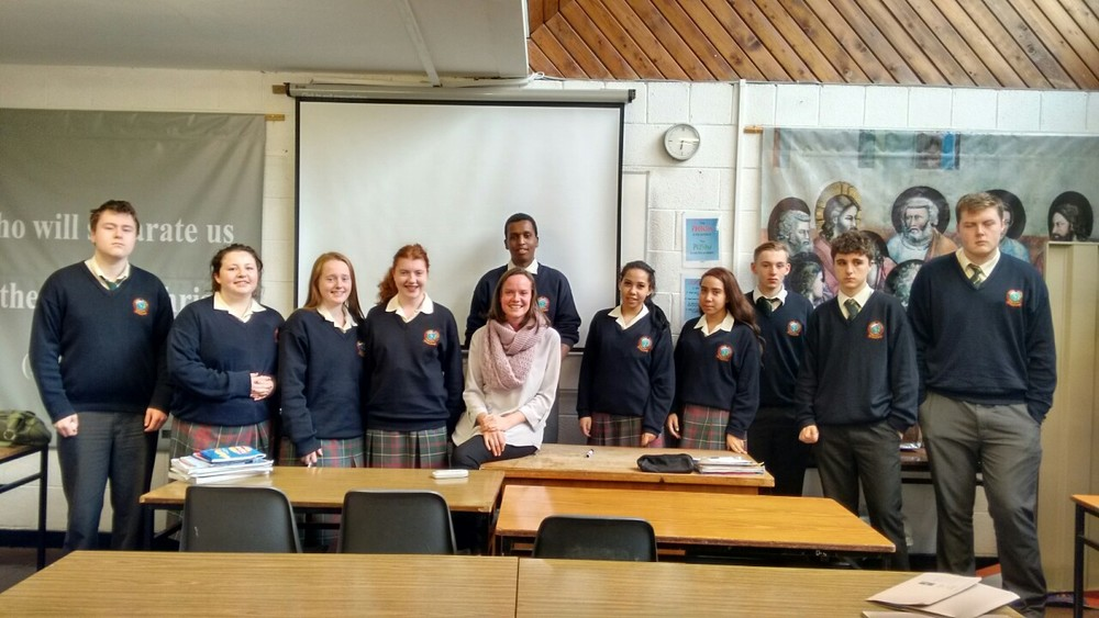 Spirit of adventure!   VSO volunteer Aisling Healy with 6A5 yesterday.  A teacher herself, Aisling is recently returned from a 2 year placement in Ethiopa where she trained teachers in a rural part of the country.  The students having just completed a module on volunteering and community projects with Mr. English. Aisling's talk was genuinely fascinating and her warmth, passion and enthusiasm was plain for all to see.