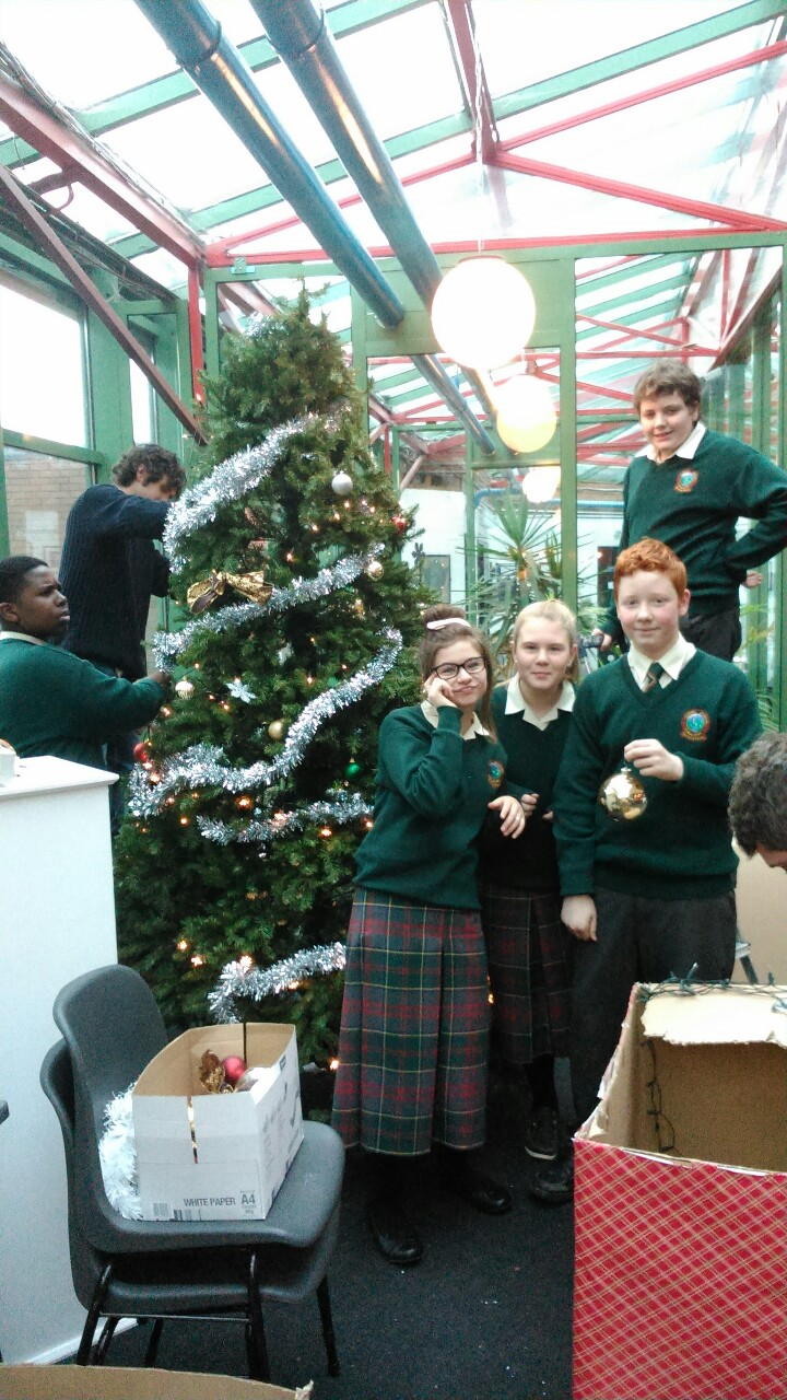 1st year students bringing some festive cheer to the school by decorating our Christmas tree!