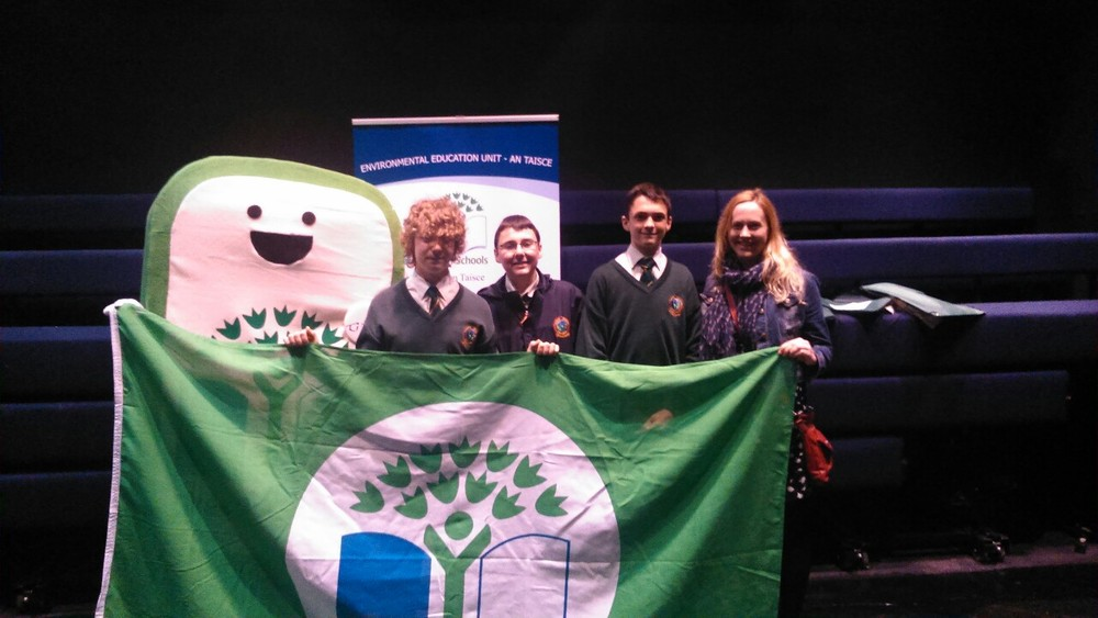 At the Helix with Matthew,  Corrado and Cian from the green schools committee receiving our energy green flag!