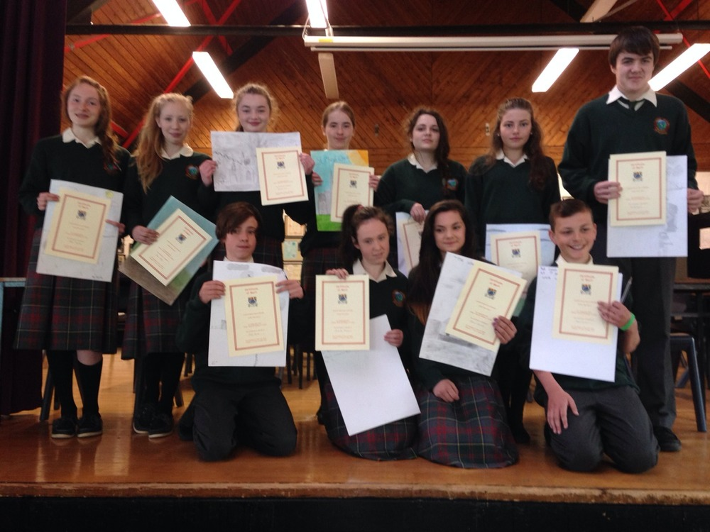 First year students who were runners up in an Art Competition.