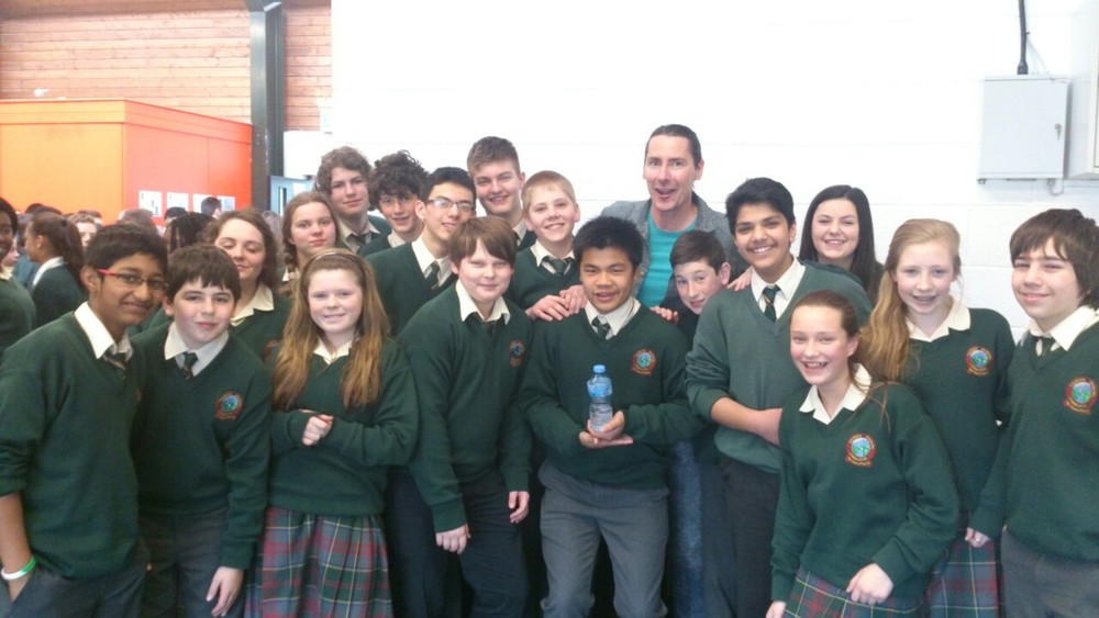 Tall-Tales!    First year students pose with story-teller Niall de Burca in the school library today.    First and Second years sat enthralled as Niall spun his unique brand of spooky, quirky and laugh-out-loud hilarious tales! Including the story of a woman from Tipperary who discovers her new husband is a serial killer and a teenager from Dublin who's plagued by a banshee!  A great way to finish the term.