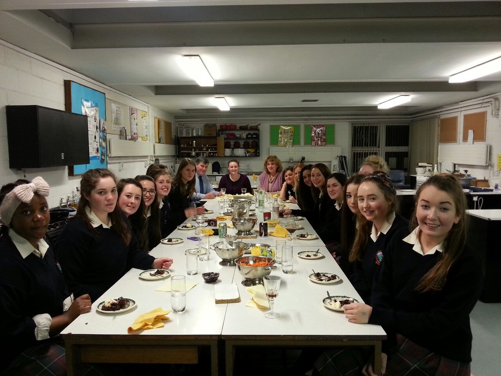 6th year Home Ec students and their teacher Ms Quinn prepared a delicious Christmas Dinner which was shared with their Year Heads Ms Nelson and Mr Broderick and the Principal Mr Sweeney.