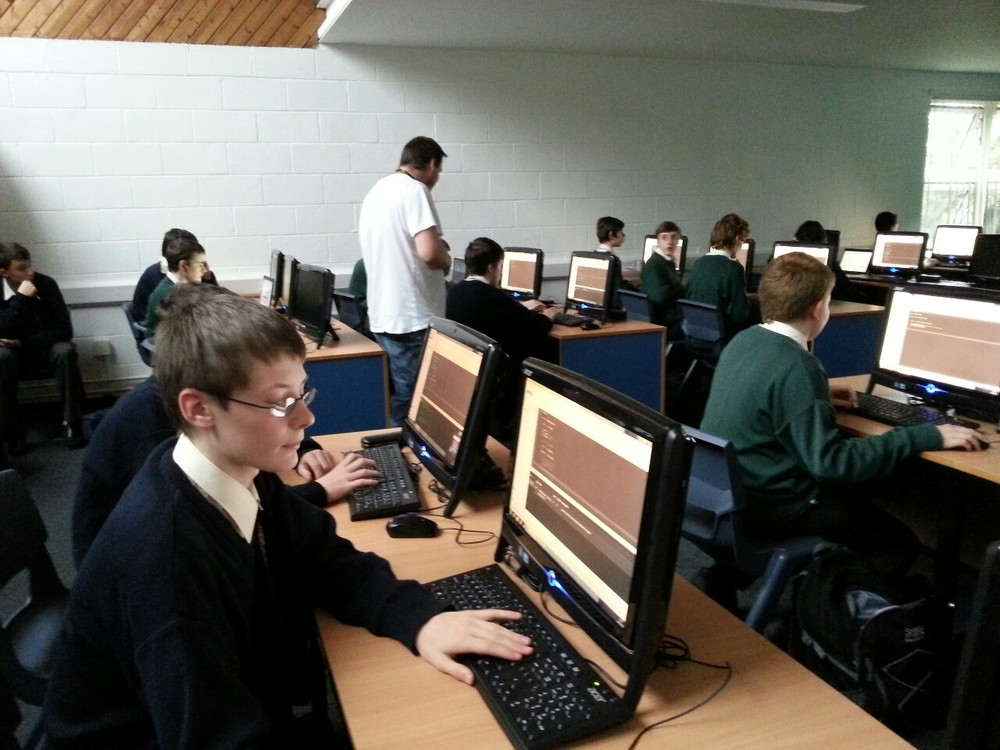 Colaiste Chiarain Coding Club in action! The students are being coached by Patrick Lismore from our neighbours Hewlett Packard. The club is organised by the Parents Council and supported by the school Prefects.