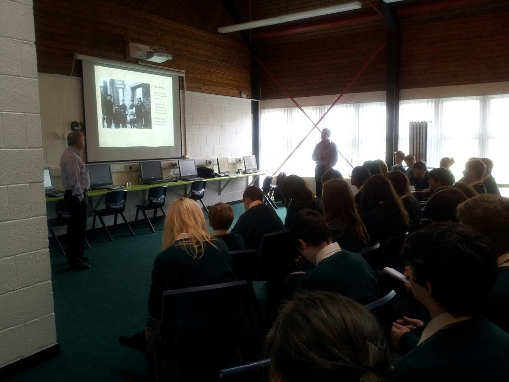 Third and fifth year History students attend a talk to mark the centenary of the 1913 strike and lockout given by Mario Corrigan of Kildare county council supported by leixlip library