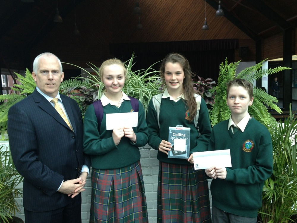 Easter Poetry Competition Prize Winners: Ariana Fusciardi (3rd), Gerard Byrne (2nd) and Fina Hayes (1st). Well done to all participants on a very high standard.