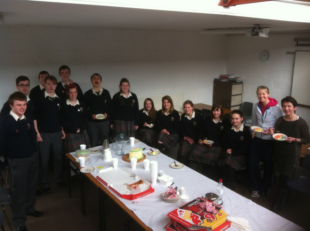 Students and staff who travelled to Zambia last year were treated to cake and pizza ( thanks Eliana and co). This was the last meeting as some of the students are leaving this year.