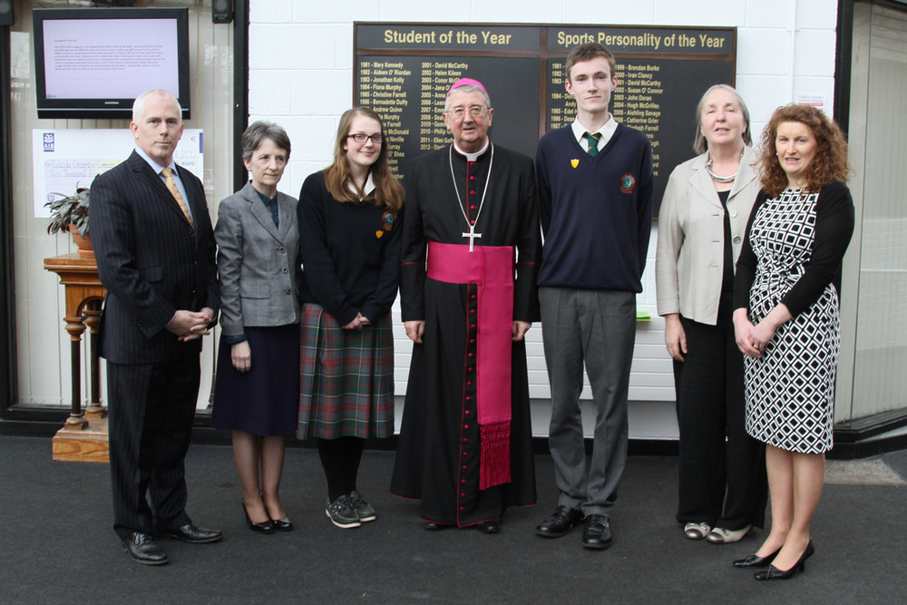 Visit by Archbishop Diarmuid Martin   On Thursday 31st January Coláiste Chiaráin had the privilege of welcoming Archbishop Diarmuid Martin to our school.  As part of catholic schools week the archbishop said mass in the parish church where he was joined with representatives  from all the local schools.On his arrival in Coláiste Chiaráin he was greeted by the head boy Gavin Cahill and the head girl Lia Flattery.Following a brief tour of the school his grace met with the transition year class and they shared their experience of transition year and the Youth Alpha course they recently completed. On the eve of the feast of St.Brigid the archbishop blessed some crosses which students had made before joining the transition years for lunch.