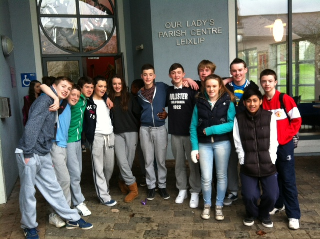 Today students from  second year participated in a retreat given by the  mustard seed retreat team.In the picture are some of the students outside the parish centre where the retreat took place.