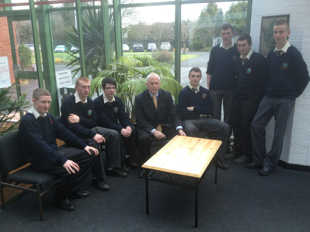 Today our 6th year LCA class presented a reception table to Mr. Sweeney. The table was designed and made by the group in their Engineering and Construction class.