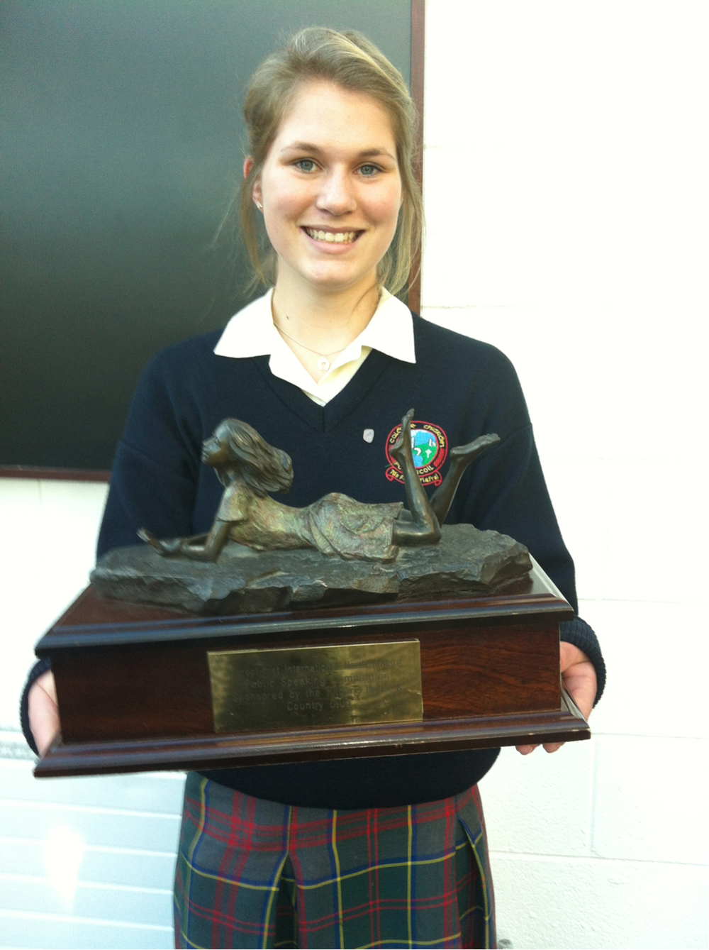 Eliana Jupe with the trophy she won at theSoroptimist International North Kildare Public Speaking Competition