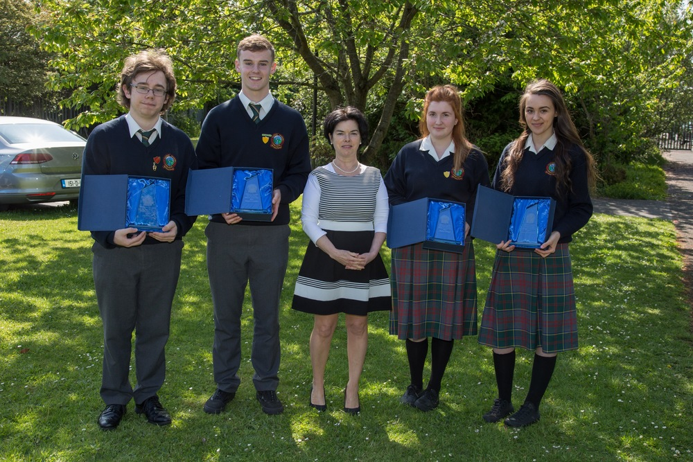 6th Year Award Winners: Glen Carr, Liam Ginnetty, Ms. O''Hare, Emma Dwyer and Hannah O'Connor