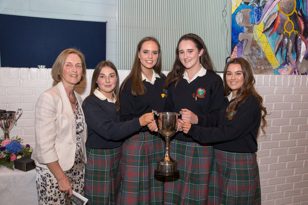 Ms.Mary McGuire with Joint Sports Personalities of the year 2017, Lauren O'Dwyer, Susan Walsh, Meadhbh Hanlon, Kate O'Toole.