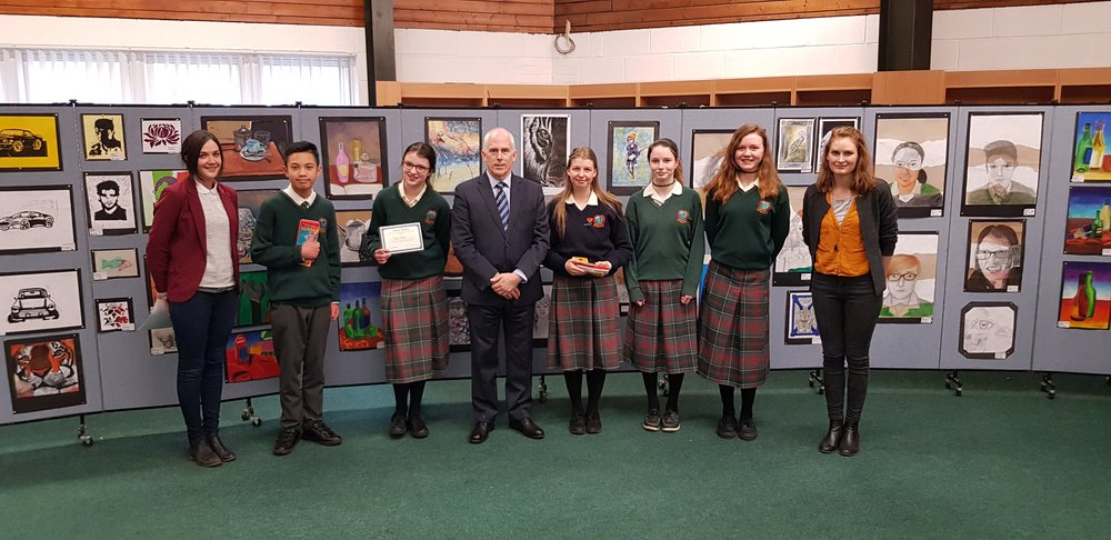 The prize winners from the Art Exhibition