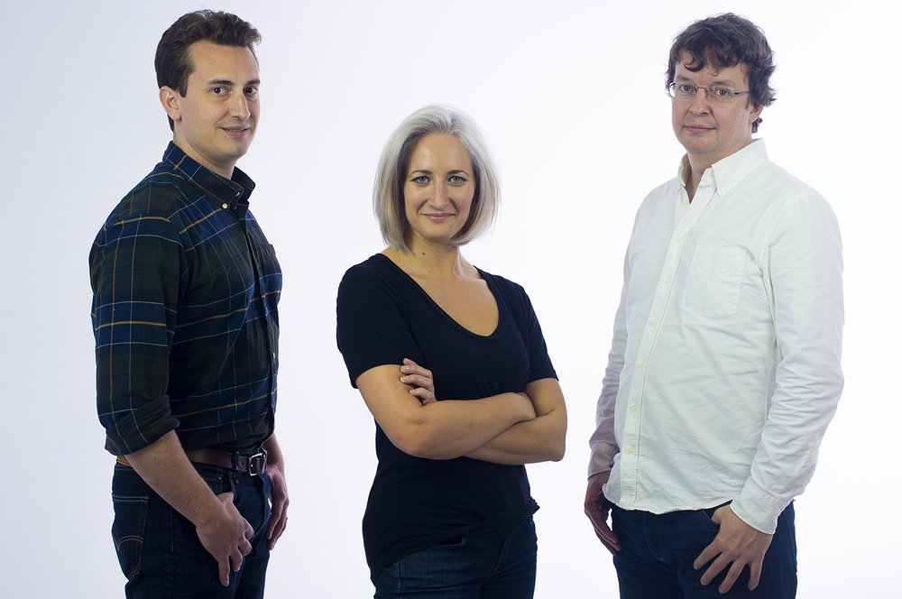 The first three Kadena employees: Co-Founder Will Martino (left), Engineer Monica Quaintance (center), and Co-Founder Stuart Popejoy (right).