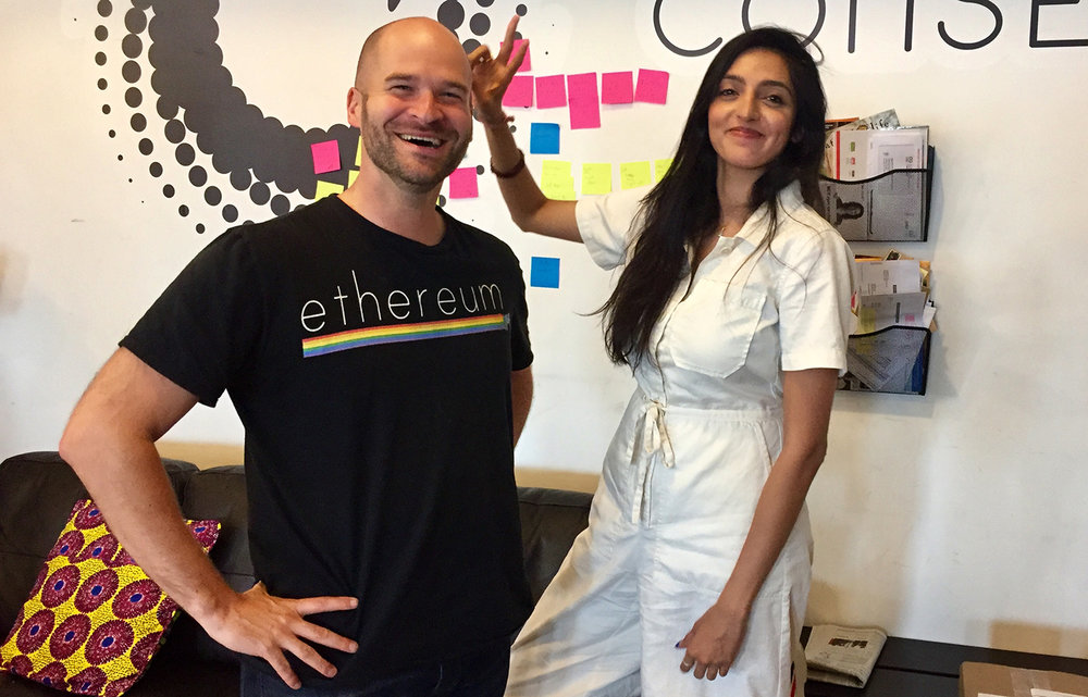 OpenLaw Co-Founder Aaron Wright and Senior Vice President of Business Development Priyanka Desai.