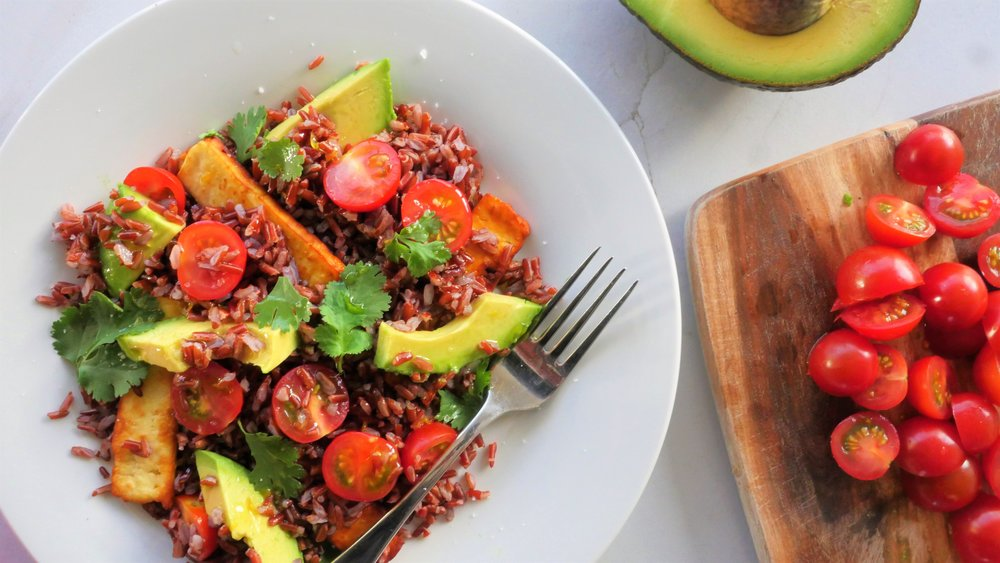 Red rice, avocado and haloumi salad - Natalie Brady Nutritionist.jpg