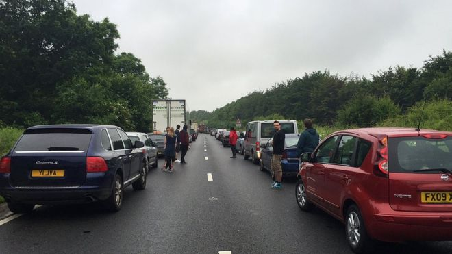 Glastonbury Traffic Jams.                                                                               Pic credit:  BBC News