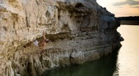 Some bold deep-water soloing at Pace Bend.