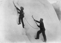 Some early roped alpinists simul-climbing. Redundancy is key when protecting yourselves folks ... anchoring yourself to your precariously placed partner only ensures that you'll both die if one of you happens to pitch off.