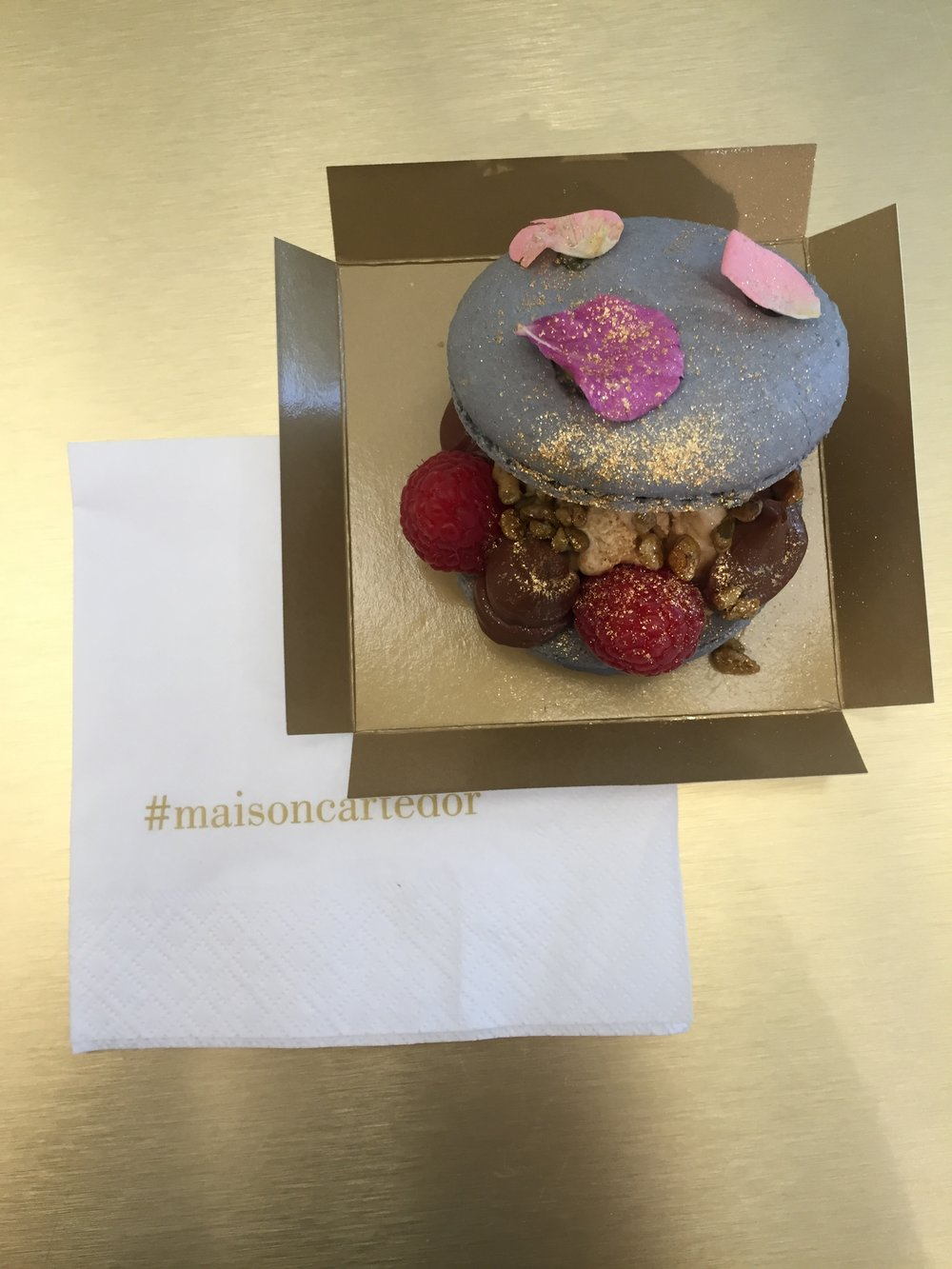 1st place:  Maison Carte D'Or macaron with salted caramel ice cream, chocolate creme, raspberries, caramelized pistachios, and some gold sugar.