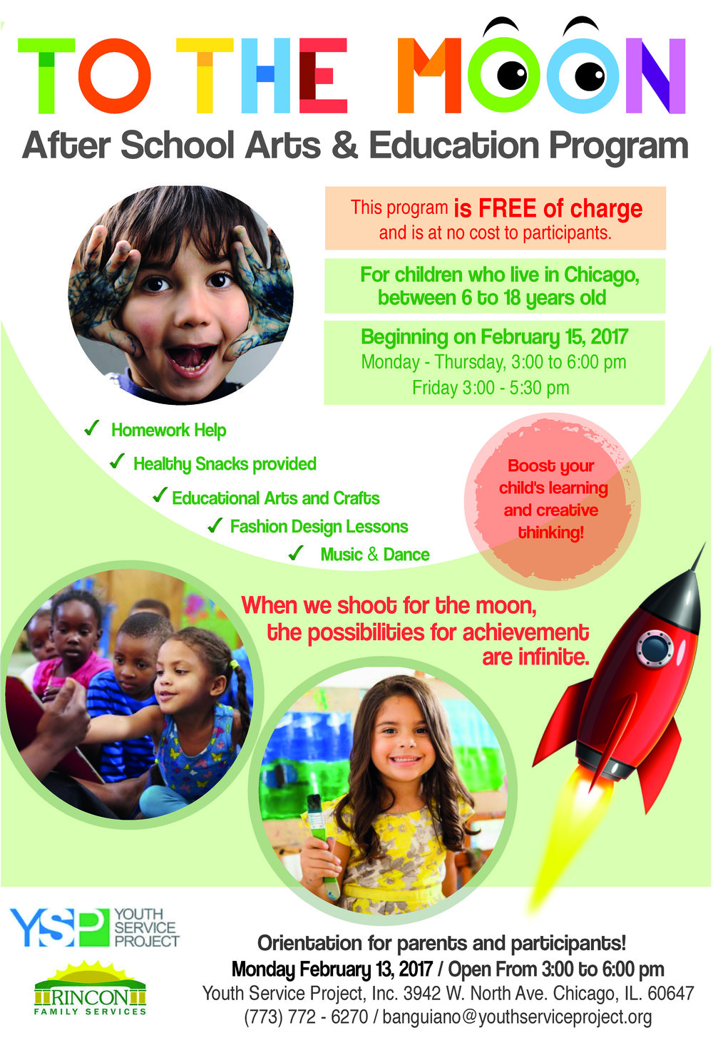 Our to To the Moon After School Arts & Education Program is back!