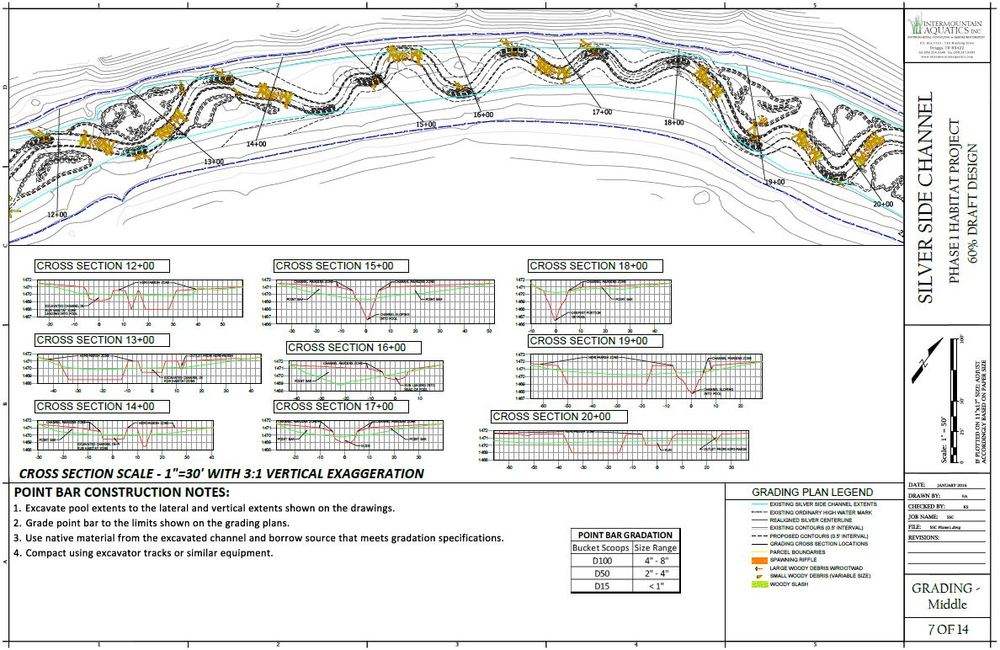 Plan view and cross sections of the Grading Plan - 60% Draft Design