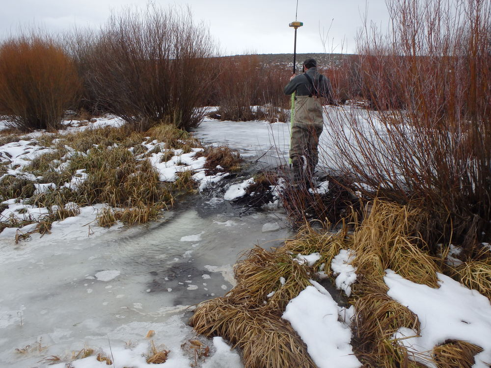 GPS-ing beaver dams that create wetland and riparian habitat