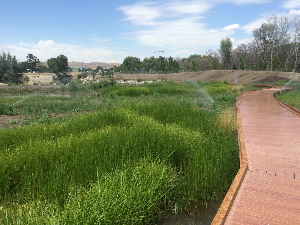 Wetland installed with bentonite liner to become part of the natural areas in Simplot Park's wildlife habitat restoration project