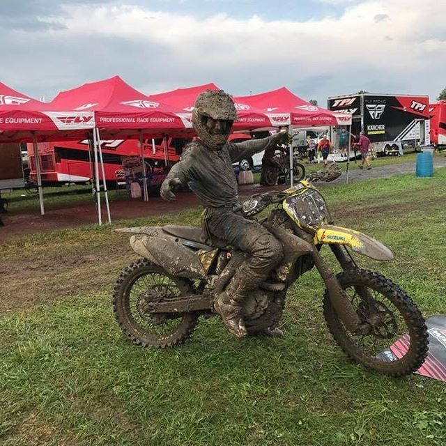 A muddy Moto #2 but they got it in. 17-17 with an 18 overall for @rstewartmx  #teammicrobiltprbc #yoshimura #teamsuzuki #rmarmy #thisismoto #promotocross