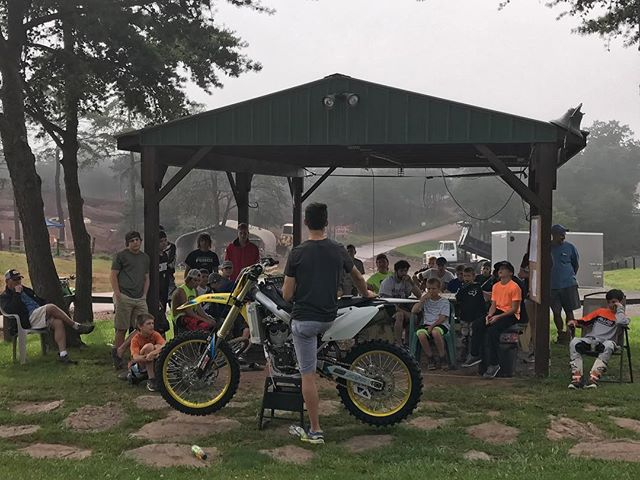 The team is out at @breezewoodprovinggrounds this week for Moto dream camp. Today @rstewartmx starts the day with a safety briefing, using his rmz450 to show body positioning and technique.  #teammicrobiltprbc #yoshimura #teamsuzuki #rmarmy #thisismoto #promotocross