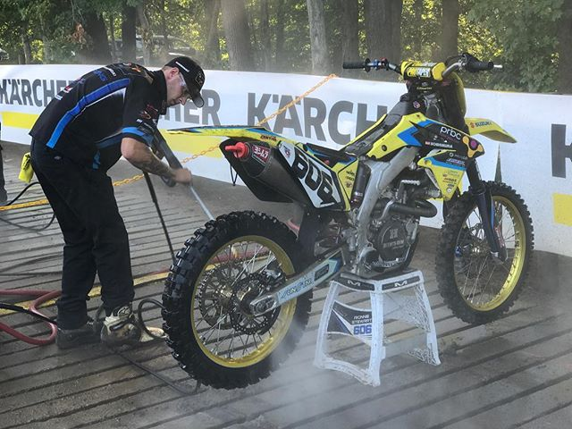 @zacheller62 enjoying the new and improved wash station. #teammicrobiltprbc #yoshimura #teamsuzuki #rmarmy #thisismoto #promotocross