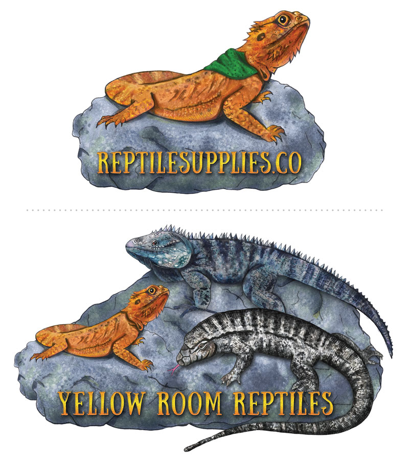 Hand drawn Logos for Live Reptiles Company and Reptile Supply Company
