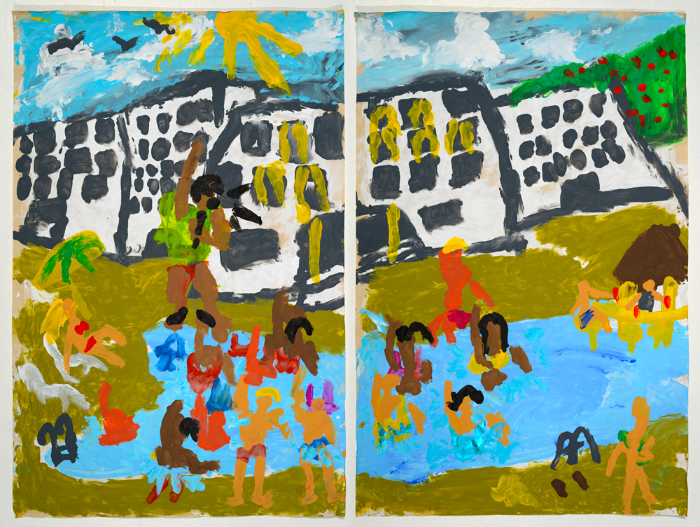 Aquaerobics acrylic on paper 87 x 57 cm