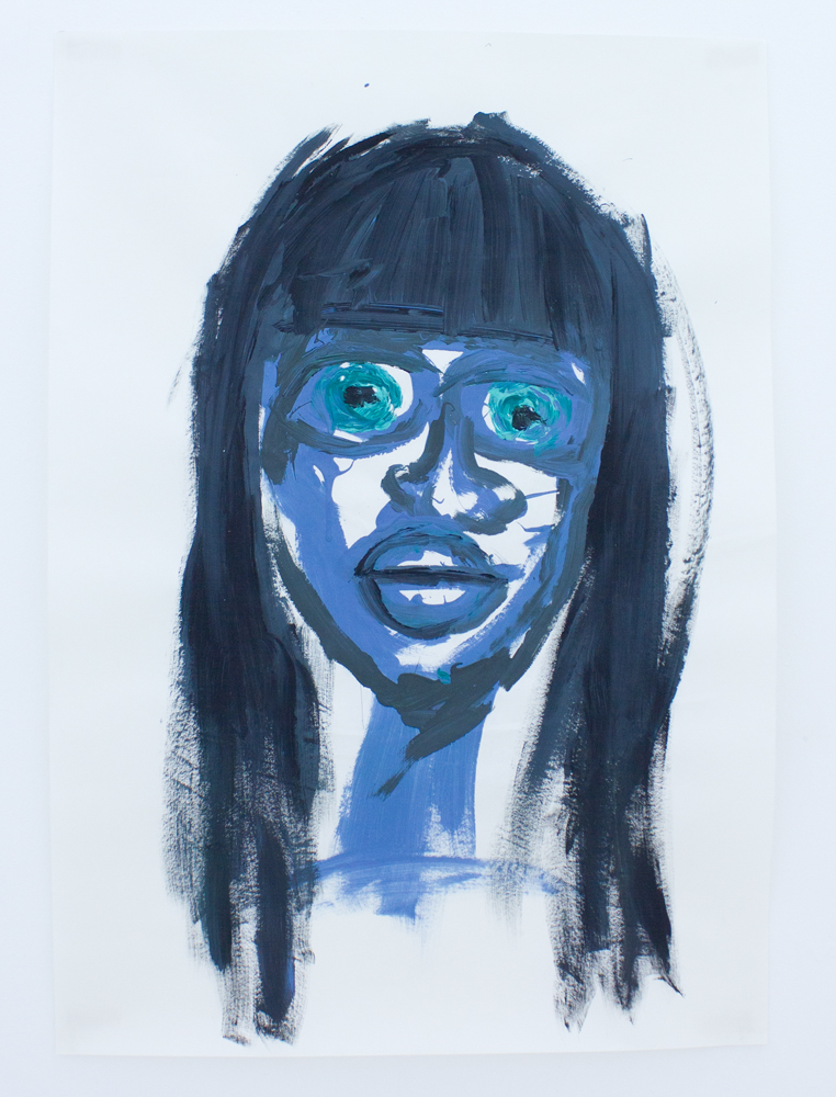 Portrait of Naomi Campbell   acrylic, vinyl and puff paint on paper   70 x 100 cm  2011