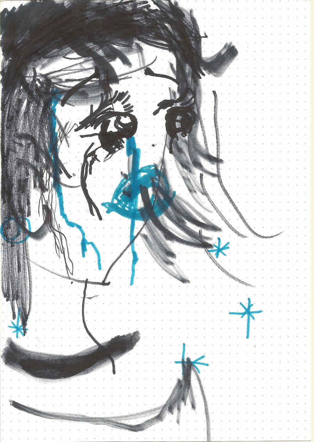 Pretty Girl Who Sings Beautifully  From the series  Punchis Punchis   Marker on Paper 15 x 20 cms 2015