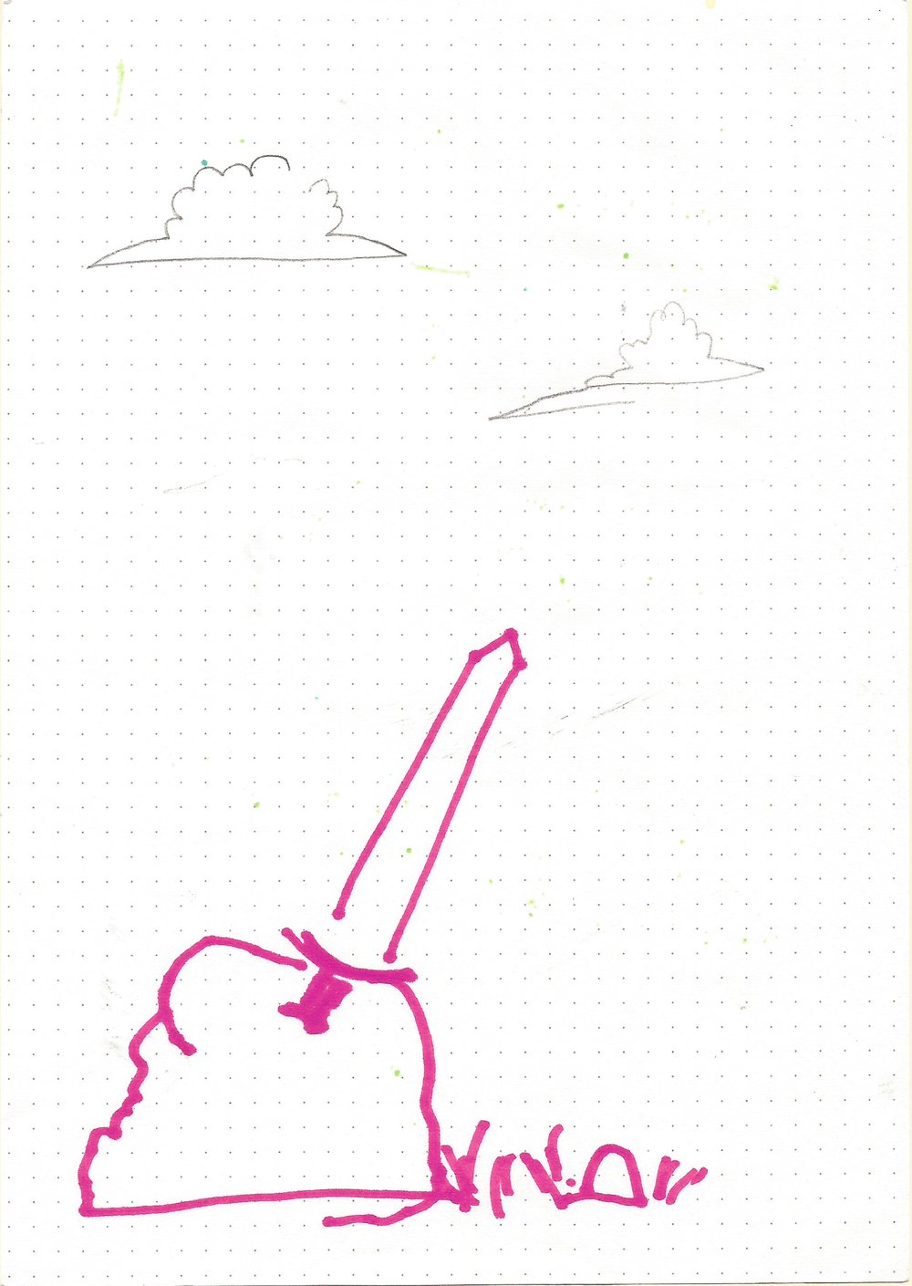 The Sword on the Stone   From the series  Punchis Punchis  Marker on Paper 15 X 20 cms 2016