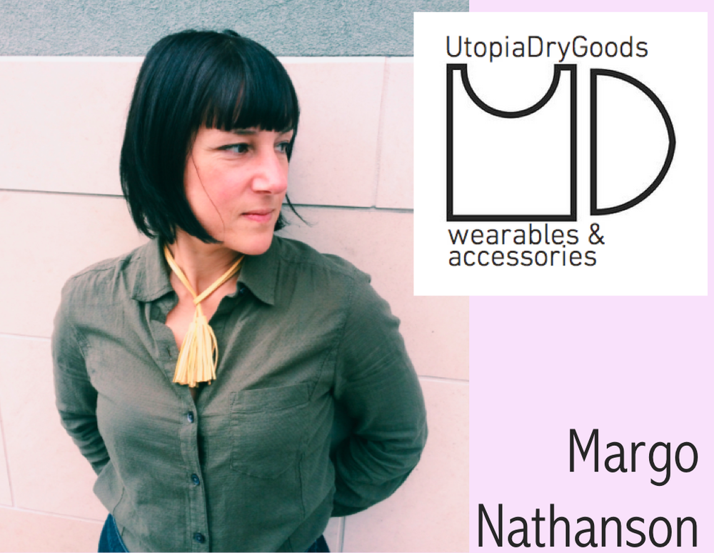 "UtopiaDryGoods | Margo Nathanson wearing her 36"" double tassel in yellow"
