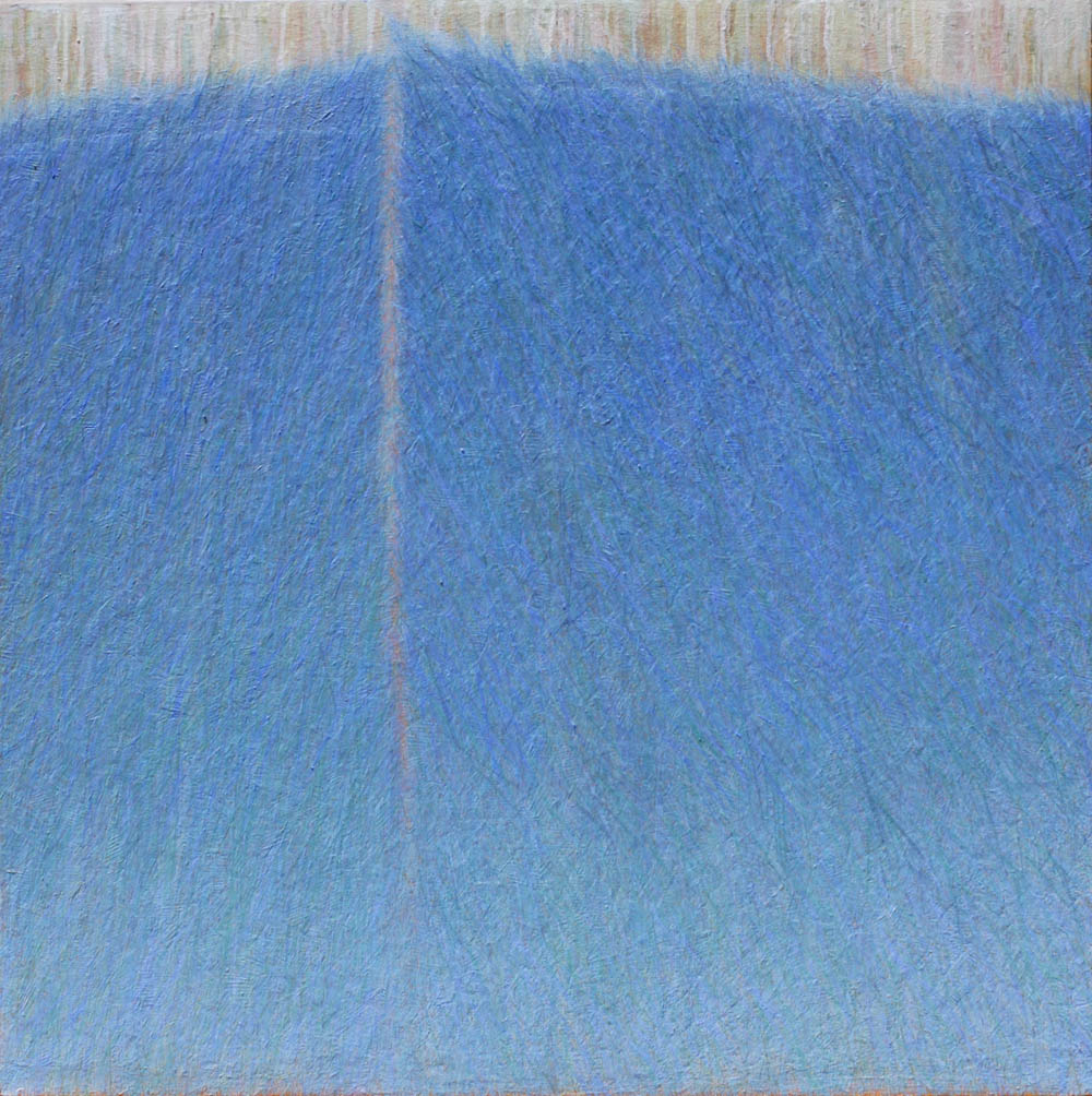 GINA BORG Blue Meet, oil on canvas, 36 x36 inches, 2012