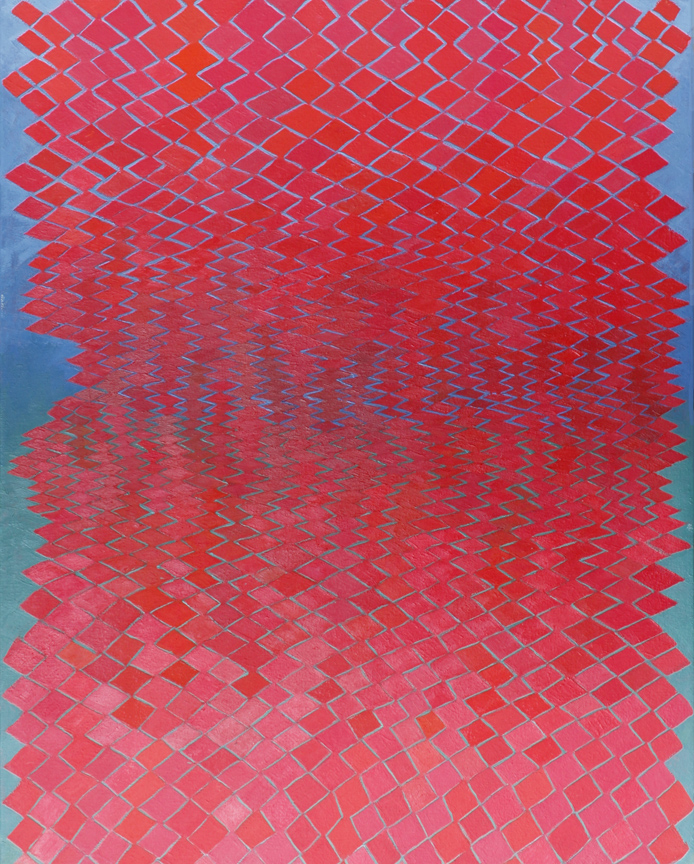 GINA BORG red above and below, oil on canvas, 30 x 24 inches, 2013