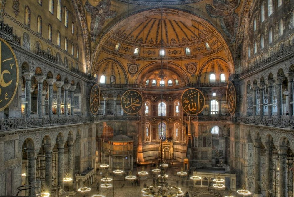 Inside the Hagia Sophia (image courtesy of Michael Day via Wikimedia Commons)