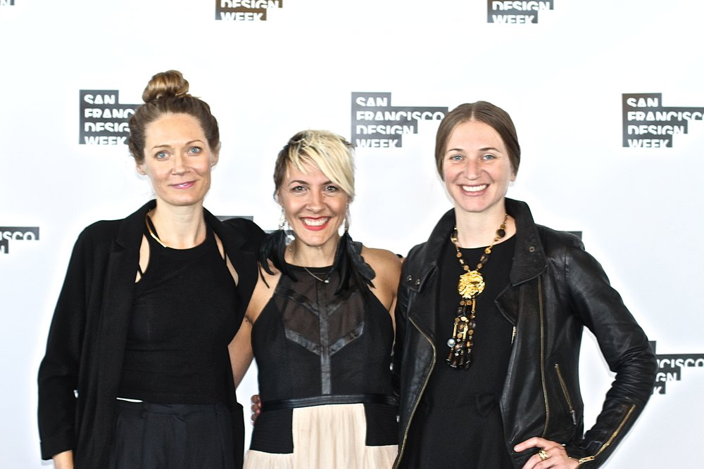 Artist Rhonda Holberton, Paige Loczi of LOCZIdesign and Aimee Friberg of CULT Exhibitions