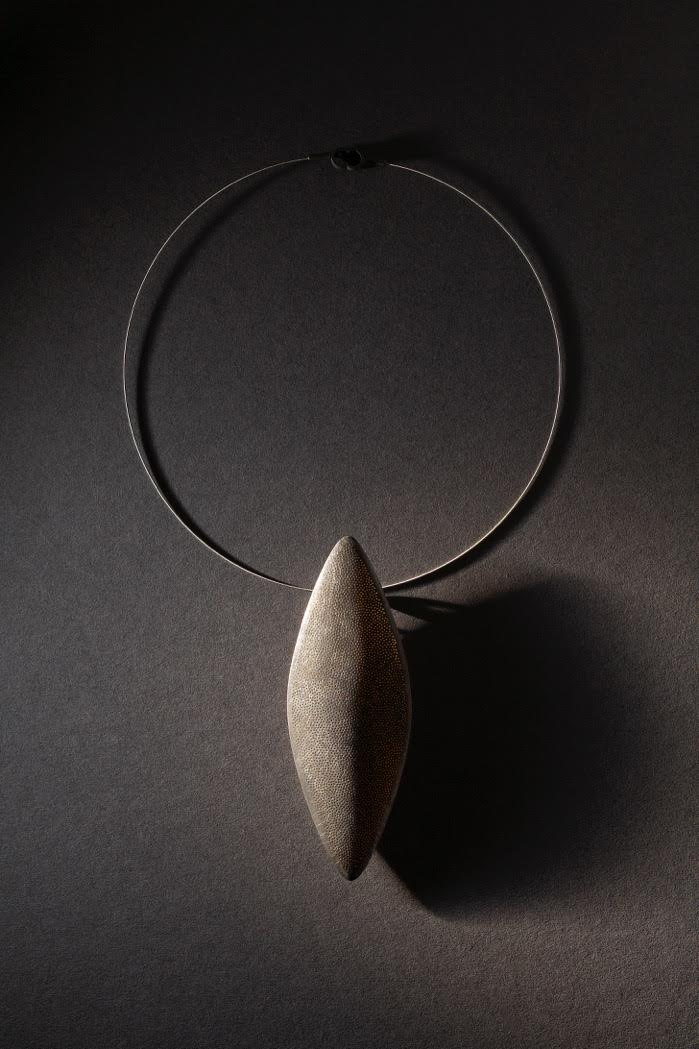 Shield Necklace - oxidized sterling silver and 22k gold - Sandra Enterline 2017