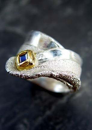 Organic Ring #35 squarecut blue sapphire 24K gold and silver.jpg