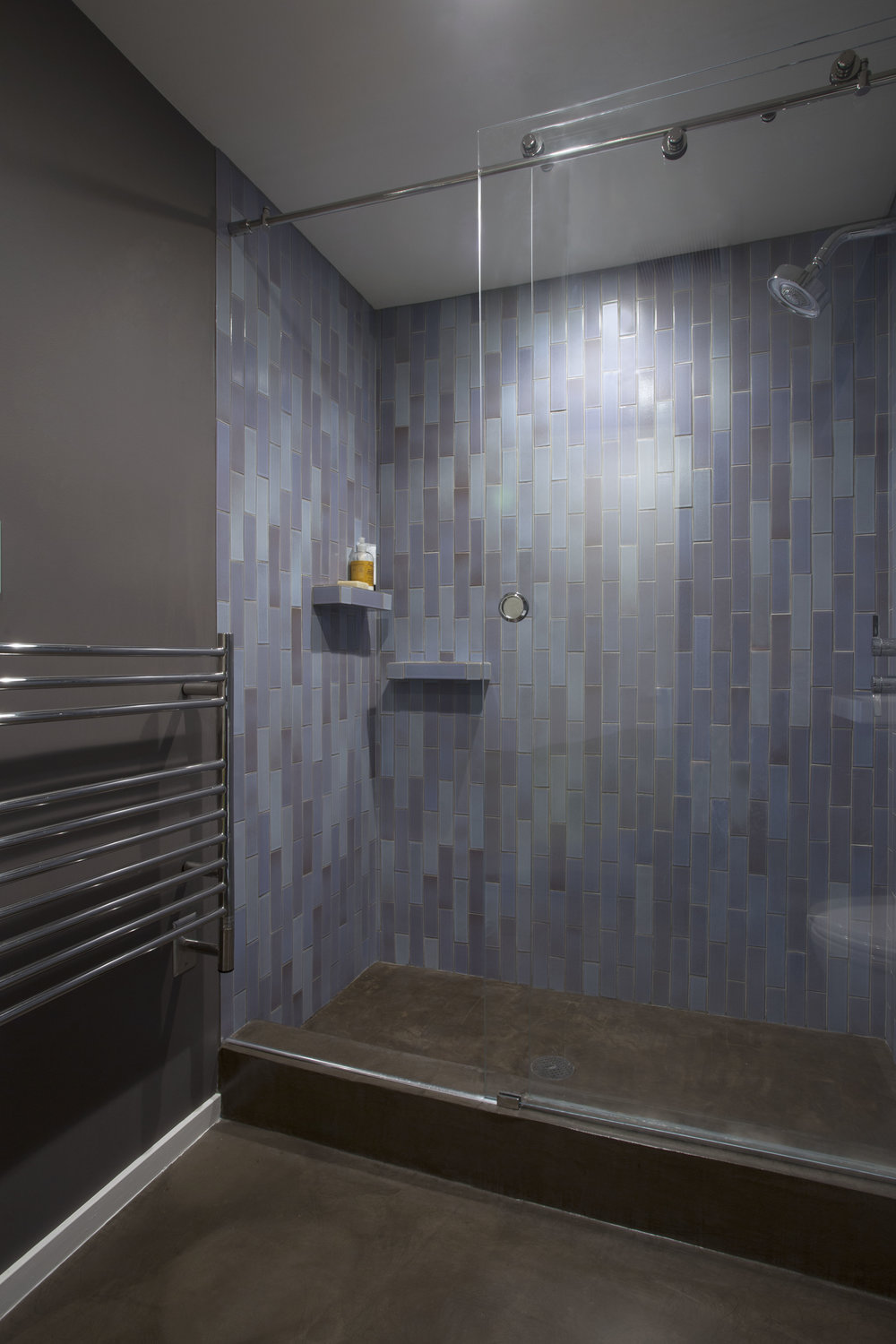 Waterfall cascade design using  Heath Ceramics  tiles for the upstairs bathroom.