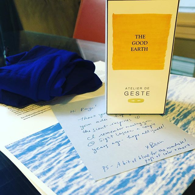 Super stoked to reconnect with the genius I found a few years back @_sightunseen_ at - not only are Beau's scents divine, she sent a hand-written note and new cobalt tights!
