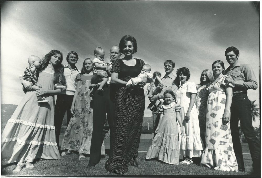 Time Magazine Photo-shoot, 1975; Dixie Andelin Forsyth is far left, holding her eldest son.