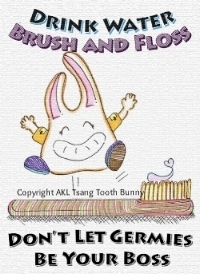"Tooth Bunny's motto: ""Drink Water. Brush and Floss. Don't Let Germies be Your Boss"" encompasses the basic to optimizing oral health for a lifetime"