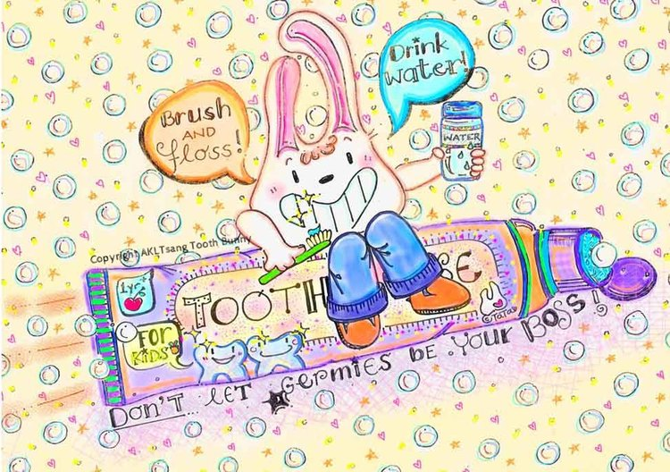 "Tooth Bunny motto is ""Drink water. Brush and floss. Don't let germies be your boss."" It's can be sung to a jingle. Listen on Tooth Bunny's website.  #toothbunnymotto #toothbunnyandfriends #annettatsang #dentalfunforkids #cavityfreeforlife"