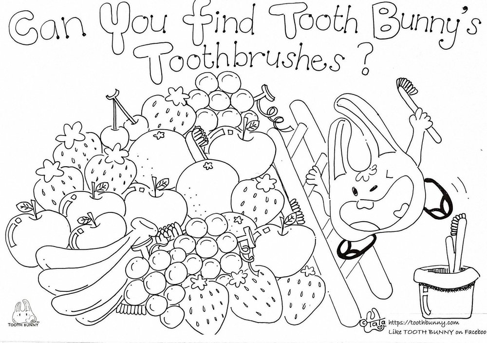 Colour In and Find Tooth Bunny's Hidden Toothbrushes